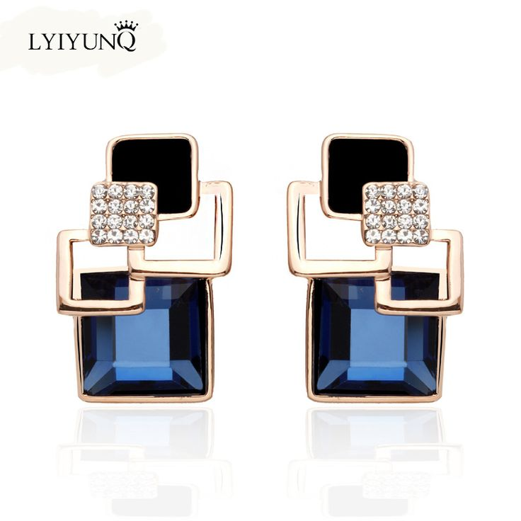 Hot Fashion Brincos Vintage Long Crystal Earring Big Geometric Stud Earrings For Women Gold Plated Zinc Alloy Indian jewelry