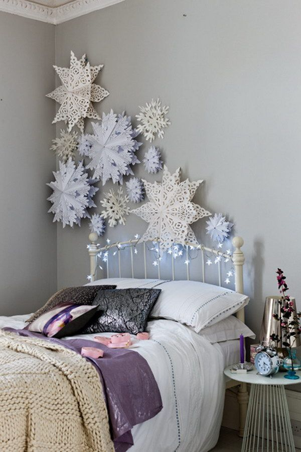 Paper Snowflakes. Create these oversized paper snowflakes for a beautifully wintry bedroom wall or the ceiling.