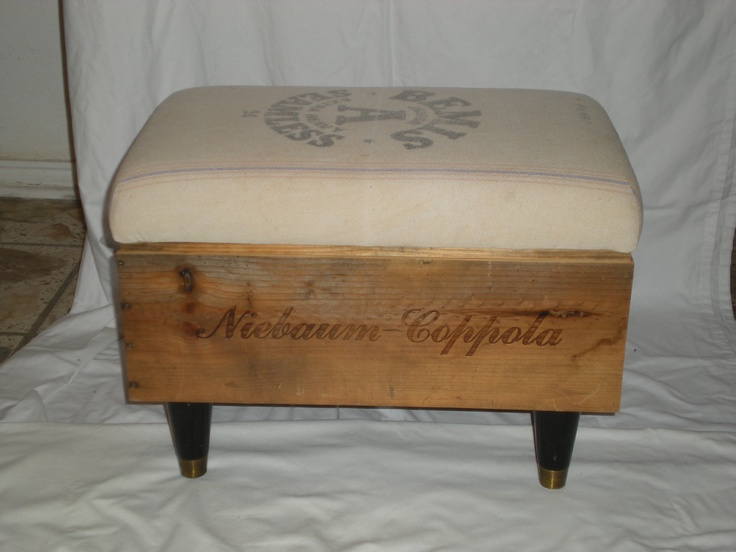 Wine Crate Ottoman.  I have an old apple box - piano hinge lid with casters?