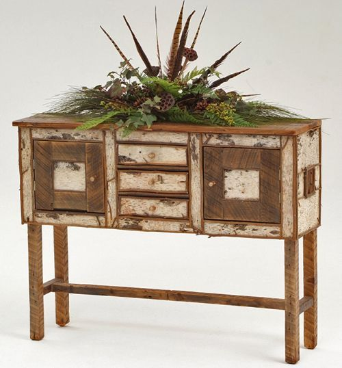 Good Birch Bark Furniture, Cabin Decorating, Lodge Decor, Handcarved Console  Table, Hickory Log