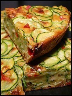 Gâteau aux courgettes (poivron rouge, lait, huile d'olive, farine, levure, oeufs, courgettes, sel/poivre, curry, safran, curcuma...)