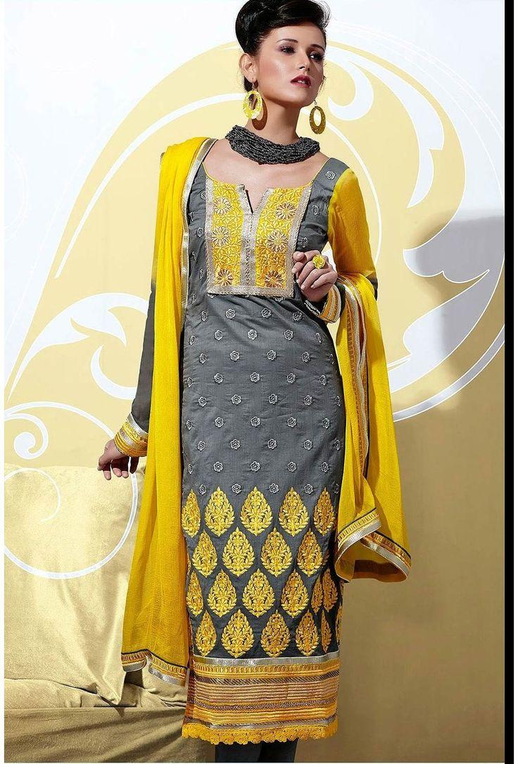 Grey,Yellow Cotton,Chiffon Salwar Kameez - Glowindian