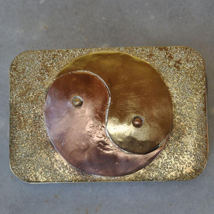 "Handmade Casual Belt Buckle ""Yin Yang"" in brass and copper by TakisBrass on Etsy"