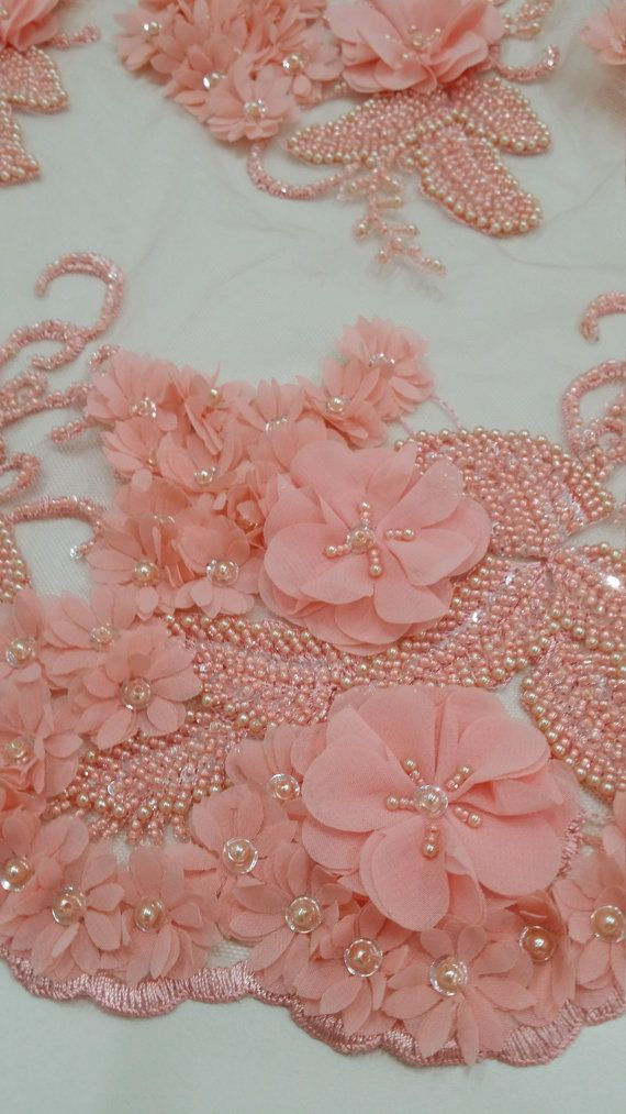 Pink lace fabric, beaded luxury 3D lace fabric, hand beaded high quality salmon pink French chantilly lace fabric, sold by the yard