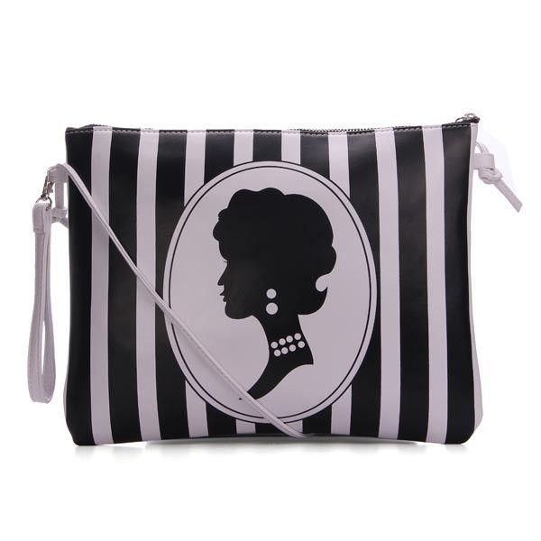 PU Leather Vertical Stripes Clutches Bag