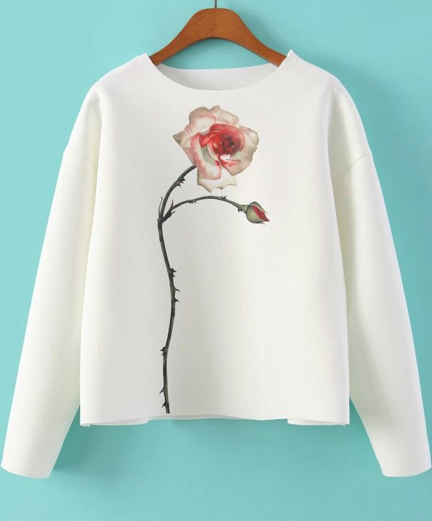 White Long Sleeve Rose Print Sweatshirt. Fashion : Tops : Sweatshirts White Long Sleeve Rose Print Sweatshirt - See more at: http://spenditonthis.com/listing-40908-white-long-sleeve-rose-print-sweatshirt.html#sthash.J7GdmX9w.dpuf