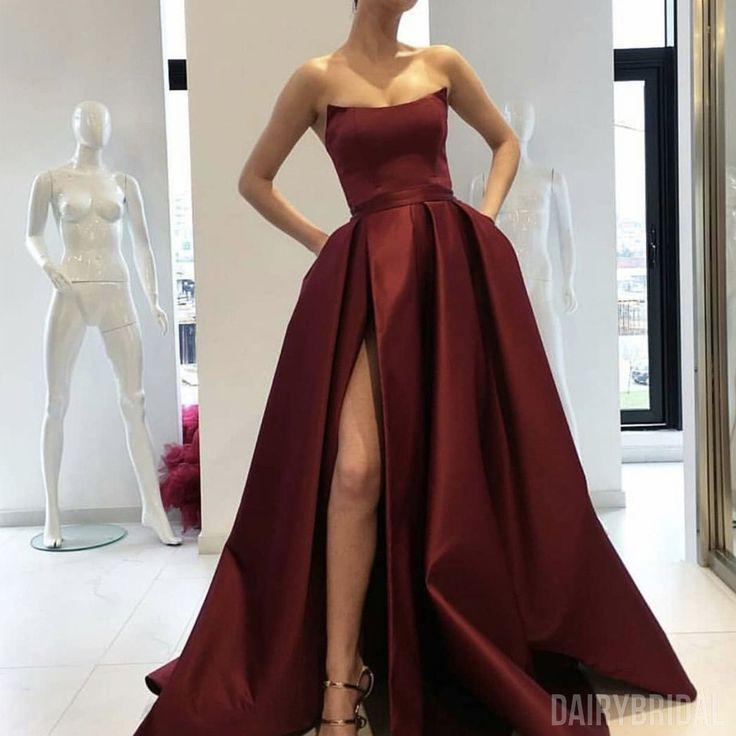Gorgrous A-Line Satin Burgundy Slit Backless Simple Long Prom Dresses, FC1833