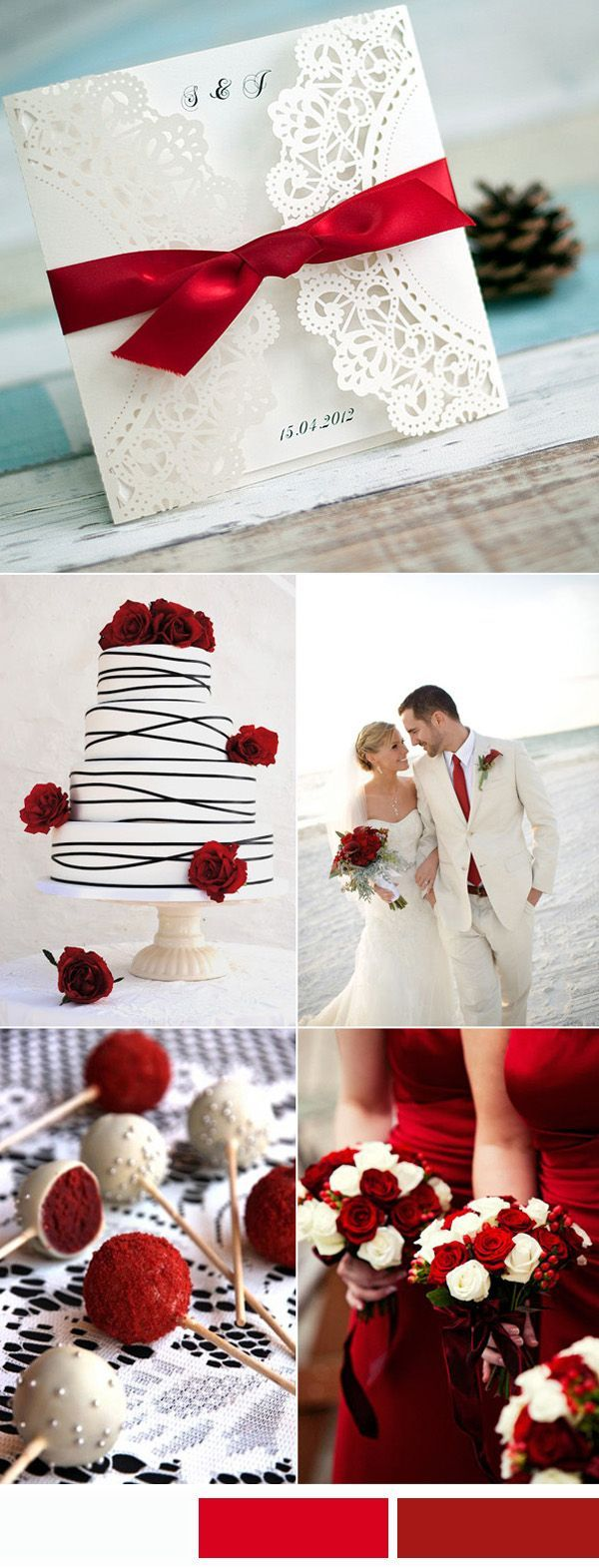 elegant red and white wedding color ideas and laser cut wedding invitations