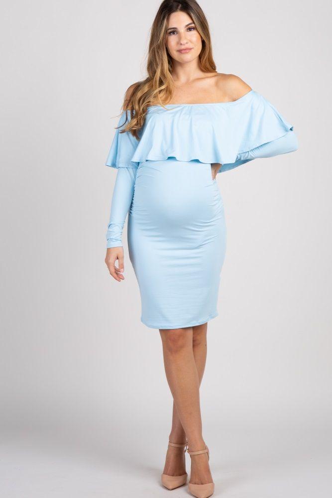 7ab5396e2fc71 Light Blue Ruffle Trim Off Shoulder Fitted Maternity Dress ...