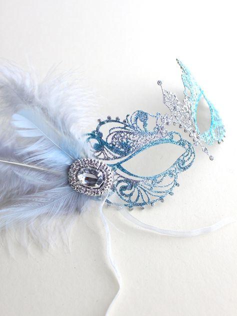 Unique Ice Blue & Silver Metal Filigree Pretty Masquerade Mask UK