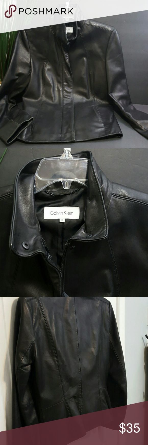 Leather jacket xs - Calvin Klein Leather Jacket Xs Super Soft Black Leather Zip Close With Snaps Front Pockets Nice