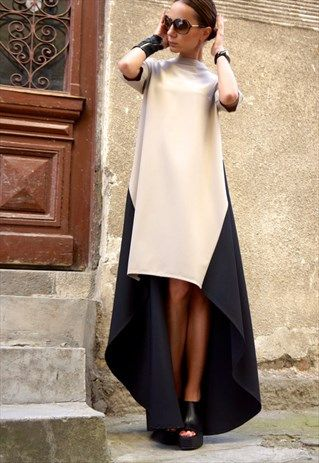 New  Maxi Dress/Long short Dress/Beige and Black  B03221