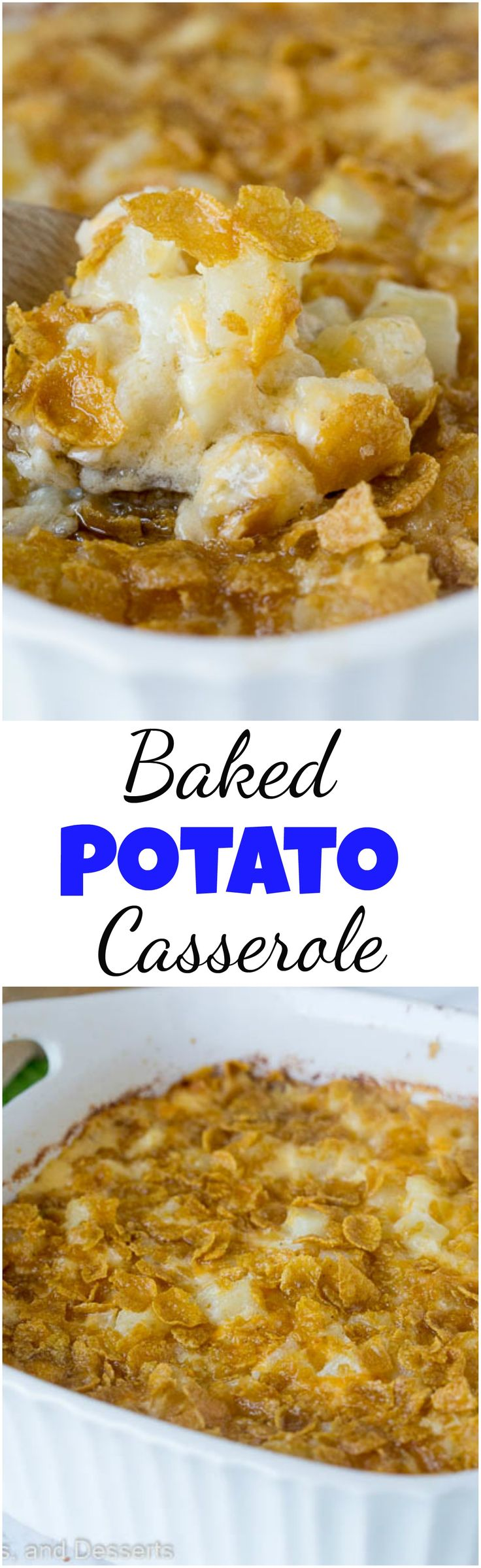 Baked Potato Casserole – a cheesy potato casserole that is great for entertaining, potlucks, or even busy weeknights. Comforting, delicious, and a family favorite. #holidaysides #potatocasserole #sides #cheesypotatoes #sidedish #recipe #potatoes