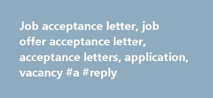 Reply of thank you #reply #for #thanks http\/\/replyremmont - acceptance letter for job