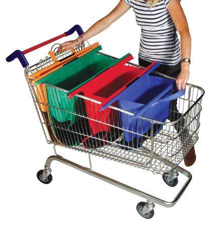 Borse per carrello della spesa, 4 pezzi da 80, 55, 42 e 31 l, riutilizzabile