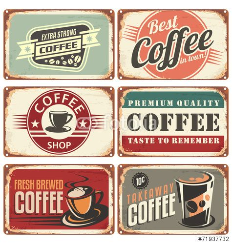 Vettoriale: Set of vintage coffee tin signs