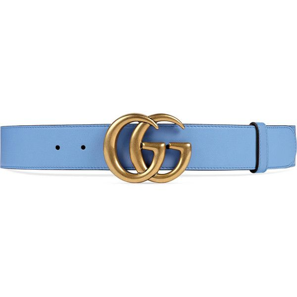 Gucci Leather Belt With Double G Buckle ($420) ❤ liked on Polyvore featuring accessories, belts, gucci, light blue, real leather belts, leather buckle belt, 100 leather belt and genuine leather belt