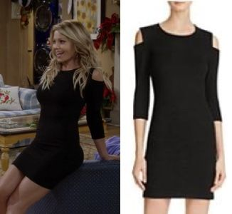 "Fuller House season 2 finale: DJ's (Candace Cameron Bure) black cold shoulder dress in ""Happy New Year Baby"" #fullerhouse #djfuller #djtanner"