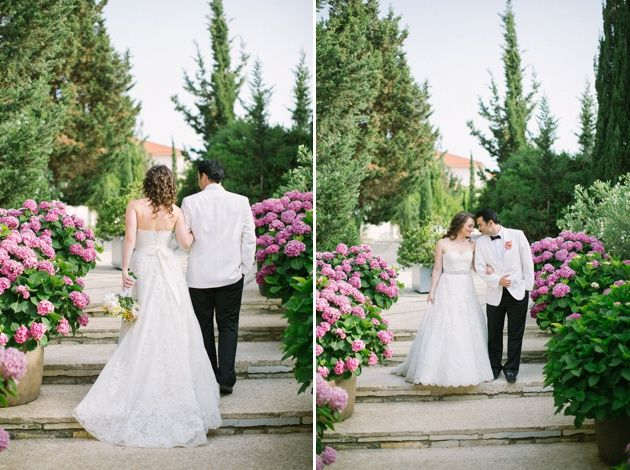 First steps as a married couple. Garden wedding photo shoot in Kefalonia by Adrian Wood