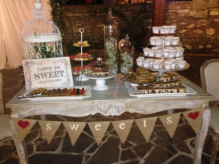 Sweets table styled by islandevents.gr for vintage garden wedding in Naxos Greece. #naxosweddings