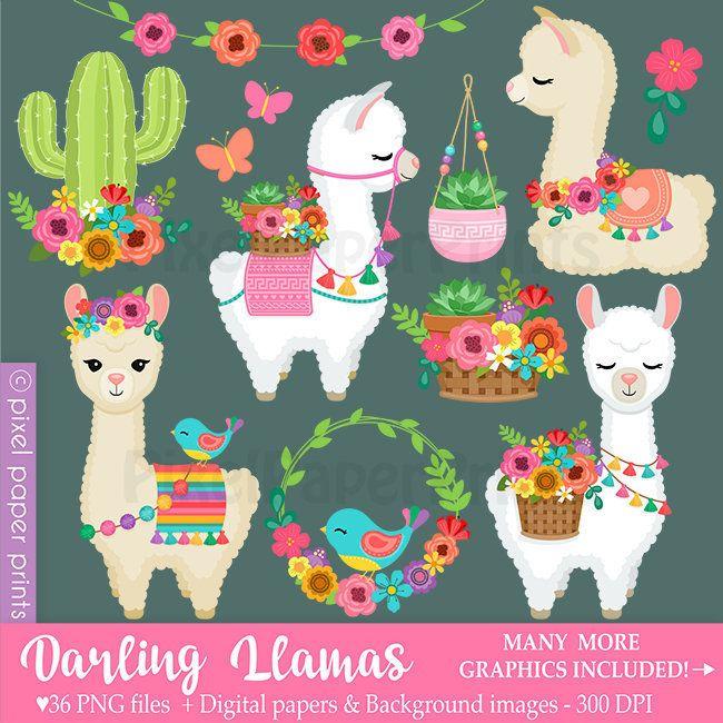 Darling Llamas Decorated Llama Clipart Alpaca Clip Art Etsy Llama Clipart Cute Llama Clip Art