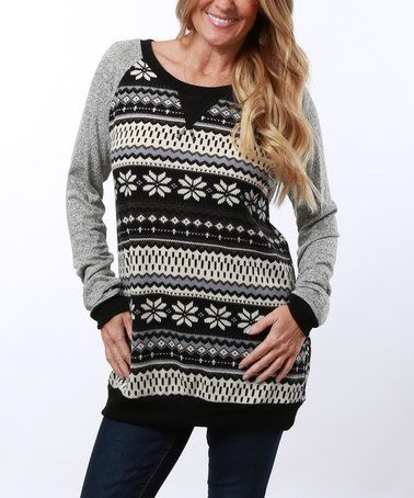 Loving this Charcoal Fair Isle Scoop Neck Tunic on #zulily! #zulilyfinds XL