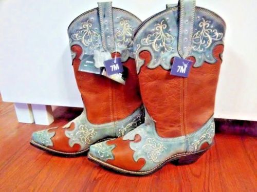 b367a7b90dc Rockin-Country-Collection-Tan-blue-Leather-Cowboy-Western-Boots-Sz-7 ...
