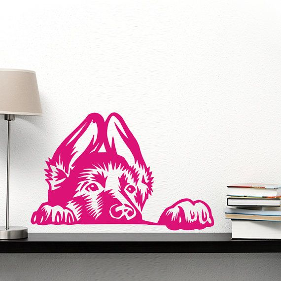 Dog Decal Peeping German Shepherd Dog , Alsatian, Vinyl Sticker Decal - Good for Walls, Cars, Ipads, Mirrors Etc