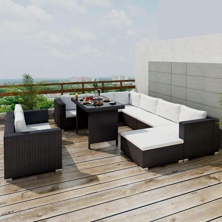 vidaXL Mobilier de jardin avec 28 pièces Noir Rotin