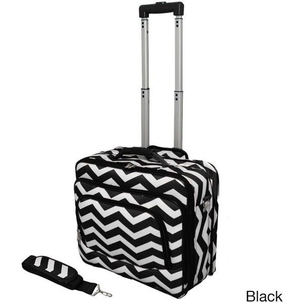 World Traveler Chevron Collection Rolling Computer Bag Laptop Business... ($63) ❤ liked on Polyvore featuring bags, luggage and black