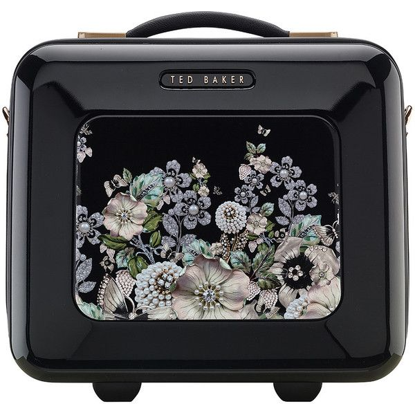 Ted Baker Gem Garden Vanity Case - Black (£125) ❤ liked on Polyvore featuring beauty products, beauty accessories, bags & cases, bags, black, accessories, handbags, makeup and ted baker