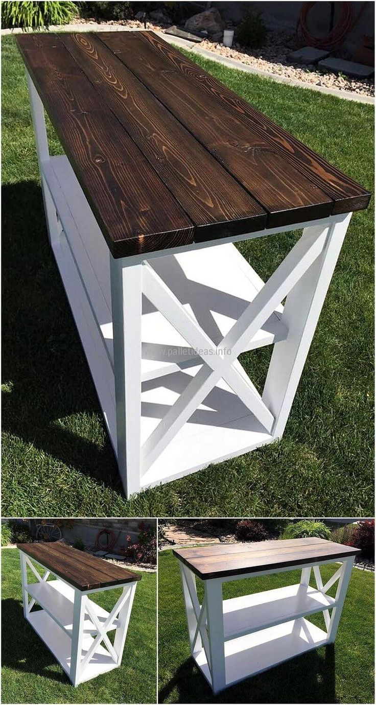 For those looking to have something for placing at an empty space, here is repurposed wood pallet entryway table with the brown colored surface. It contains 3 layers and the lower 2 layers are painted white due to which the idea is looking sober for the sophisticated setting.