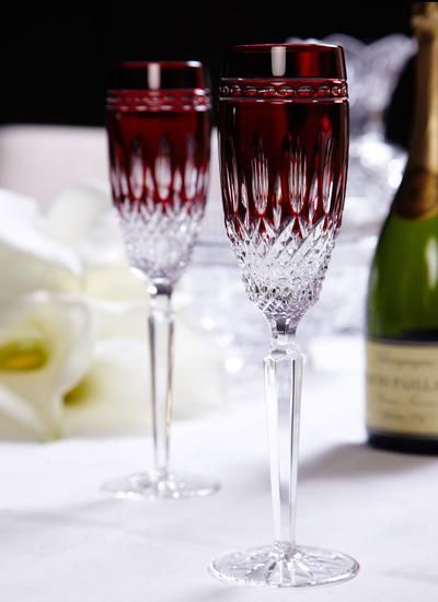 Toast in style with these Clarendon ruby flutes by Waterford Crystal as seen on The Bachelor Australia - perfect for a stylish reception, dinner party or just a hot date. Available #fromthomas in store or online www.thomasjewellers.com.au #thomasjewellers #ilovethomas