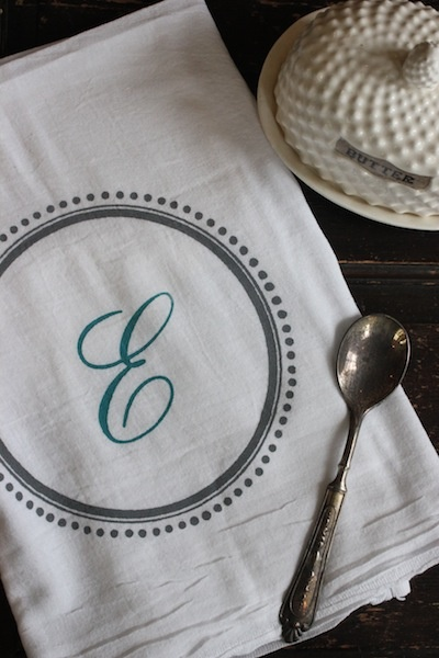 Monogrammed Tea Towels or Kitchen Towels gift ideas for weddings, bridal showers, birthdays , #Kitchen # Towel