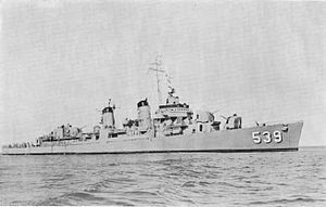 USS Tingey (DD-539) Fletcher-class destroyer named for Commodore Thomas Tingey, (1750-1829).