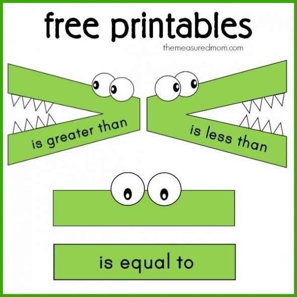 Greater Than Less Than Alligator Free printables greater than