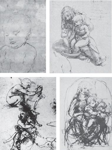 michelangelo drawing madonna and child 1525 - 380×509