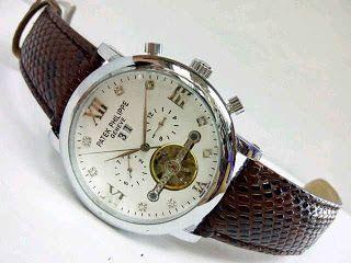 Jam Tangan Patek Philippe Matic All Time Harga : Rp 355ribu  Spesifikasi : Tipe : jam tangan pria Kualitas : kw super Diameter : 4,5cm Tali : leather Fitur : chrono aktif, tanggal, hari, bulan, tahun Mesin : automatic  Pemesanan : SMS : 081802959999 Pin BB : 270C3124  Format Pemesanan : nama, no.hp, alamat, barang yang dipesan