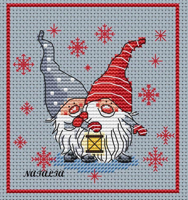 Cross-stitch More Santa Gnomes, part 1 of 3