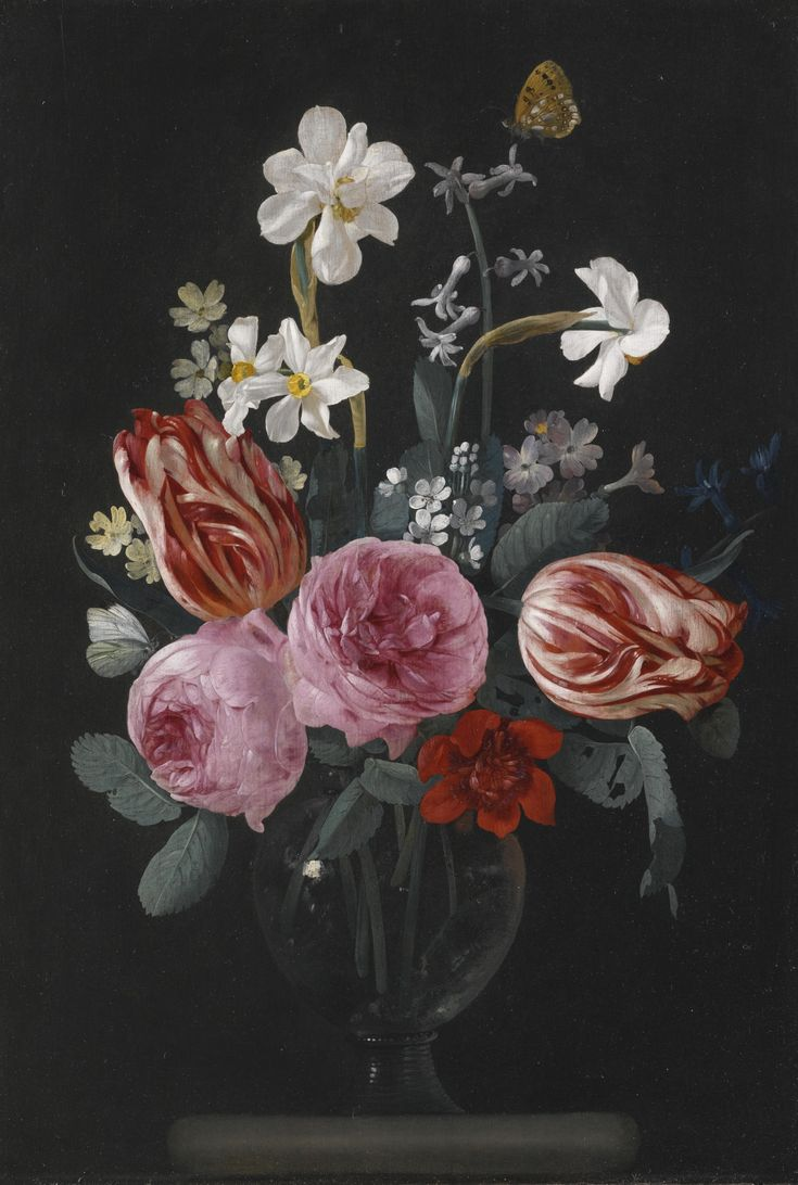 Carstian Luyckx - A STILL LIFE OF TULIPS, ROSES, DAFFODILS AND OTHER FLOWERS, WITH BUTTERFLIES, IN A GLASS VASE ON A STONE LEDGE | Sotheby's