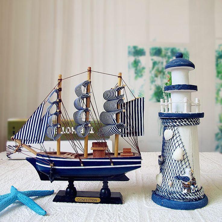 Novo! Estilo Mediterrâneo 20 cm/24 CM Náutico Barco Modelo do Navio De Navigação de Madeira Feitos À Mão Esculpida Casa Decoração Artesanato presente em Conchas & Estrelas Do Mar de Home & Garden no AliExpress.com | Alibaba Group