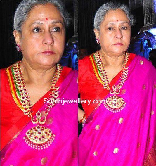 Jaya Bachchan in Ruby Diamond Mango Mala