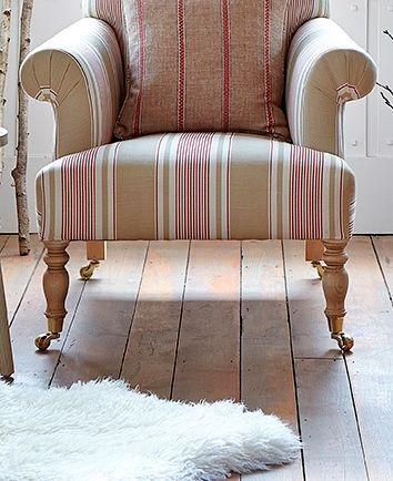 Sapperton Armchair in French Ticking Mushroom / Raspberry