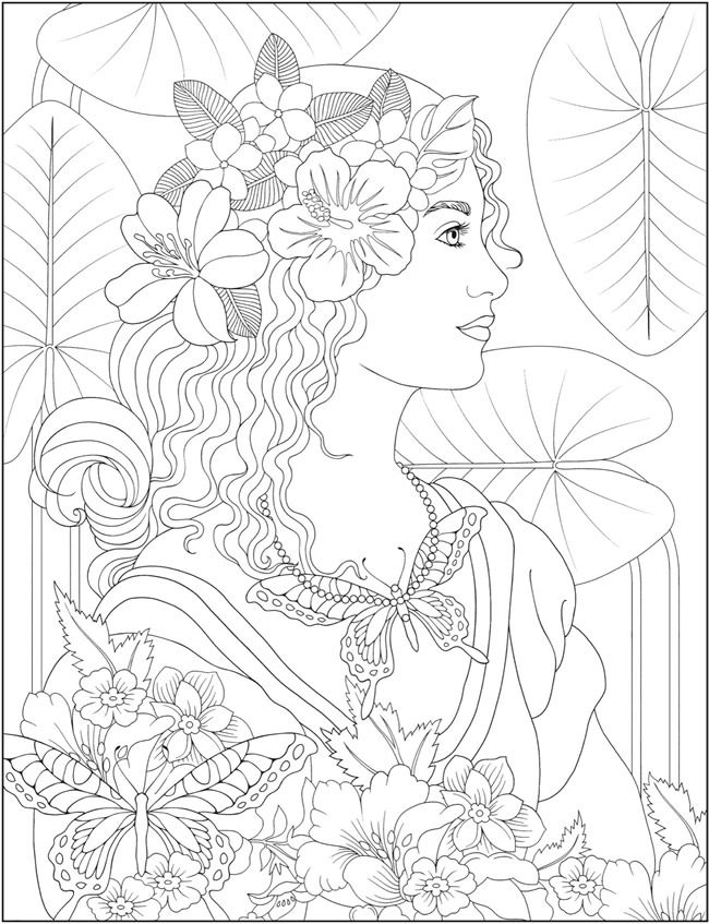 Creative Haven Wondrous Women Coloring Book Dover Publications Mandala Coloring Pages Coloring Books Fairy Coloring Pages