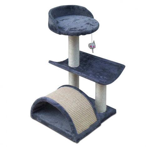 Small Cat Tree Kitten Furniture Scratching Pole Climbing Post 60cm Grey