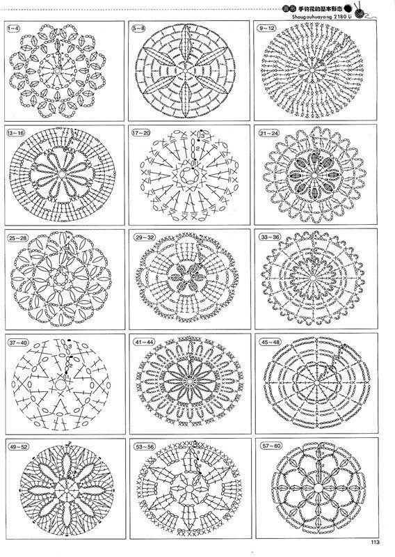 Motivos de flores en crochet para hacer carpetas, edredones, manteles, etc.