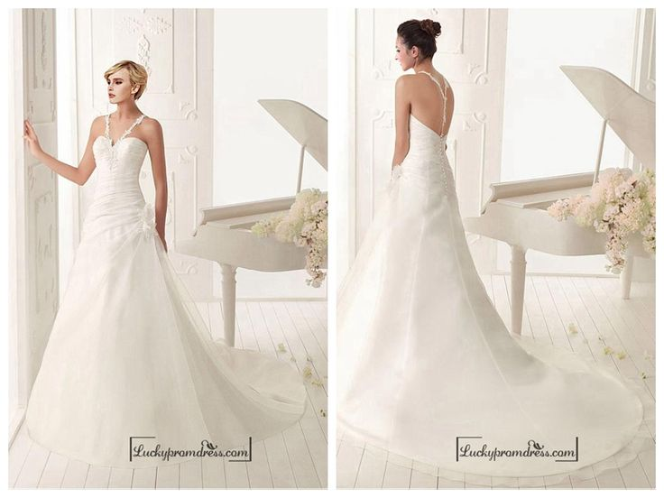BEAUTIFUL ORGANZA SATIN A-LINE V-NECK NATURAL WAIST RUCHED BEADED WEDDING DRESS WITH HANDMADE FLOWERS AND LACE APPLIQUES