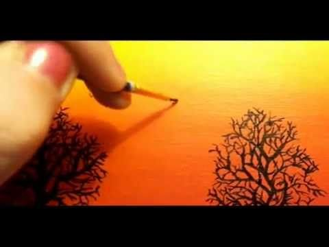 How to draw sunset with pastel - Return To Home - With Commentary - YouTube
