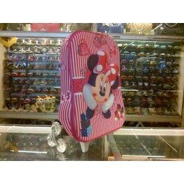 Tas Sekolah Anak Trolley Roda Import TK SD 3D Hard Cover  Minnie Mie