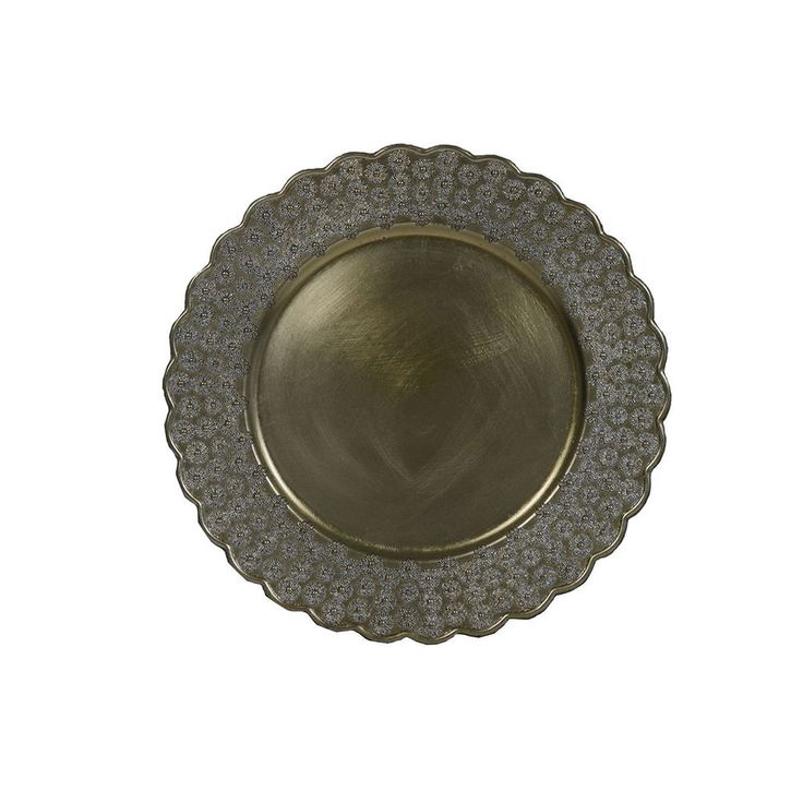 13 inch Round Charger Plates Champagne Scalloped, Set of 12 #YourChairCovers